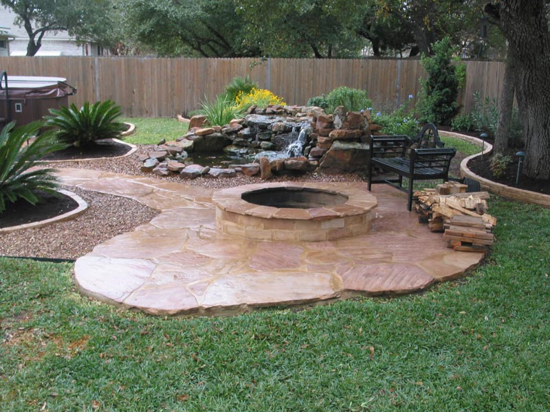 Concrete patio ideas with fire pit