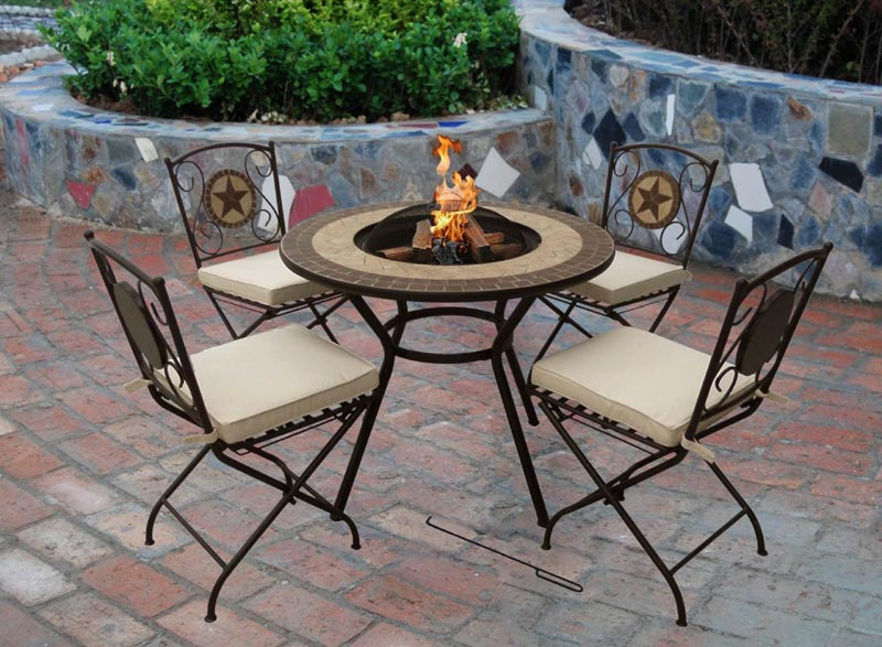 Fire pit bbq table and chairs