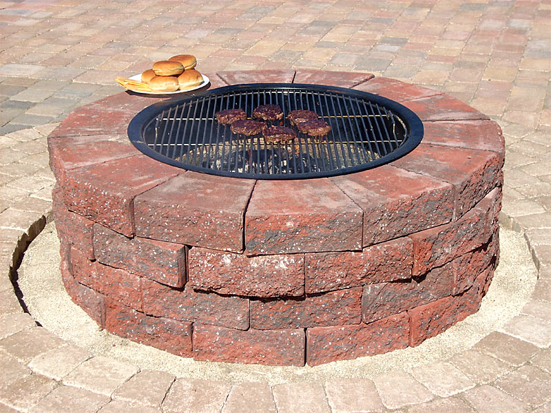 improbable red brick fire pit garden landscape
