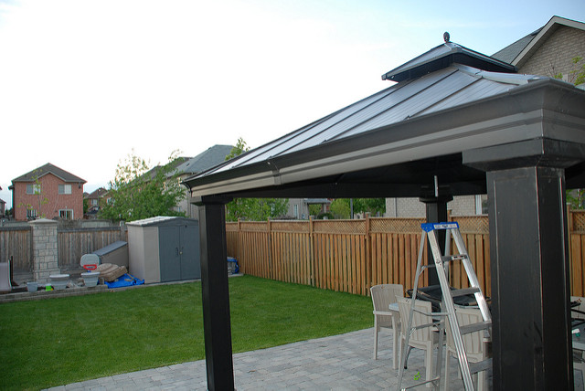 sun ontario canada hardtop grass back backyard aluminum chocolate top steel shed hard royal gazebo costco ladder 12 shelter woodbridge sunshelter rona steelandaluminum chocolatecolour royalsunshelter 38115029 ronahardtop