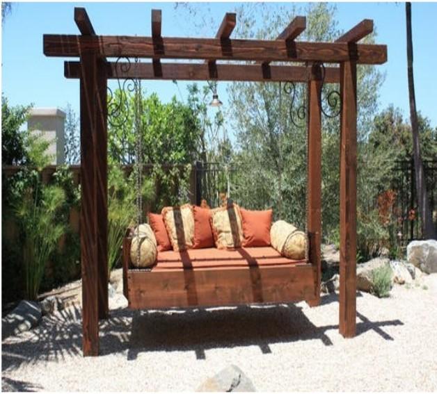 Pergola Designs For Swings: Garden Treasures Pergola With Swing Design