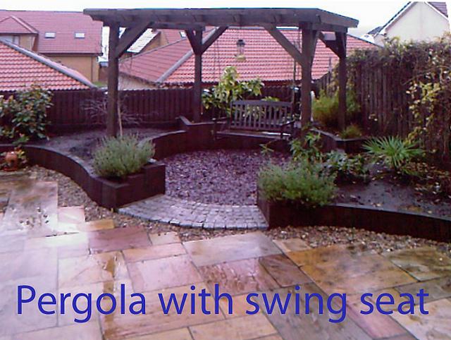 garden swing seating pergola