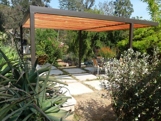 Cheap modern metal pergola garden landscape for Garden structure designs