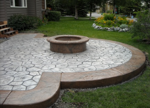 fire pit on concrete slab