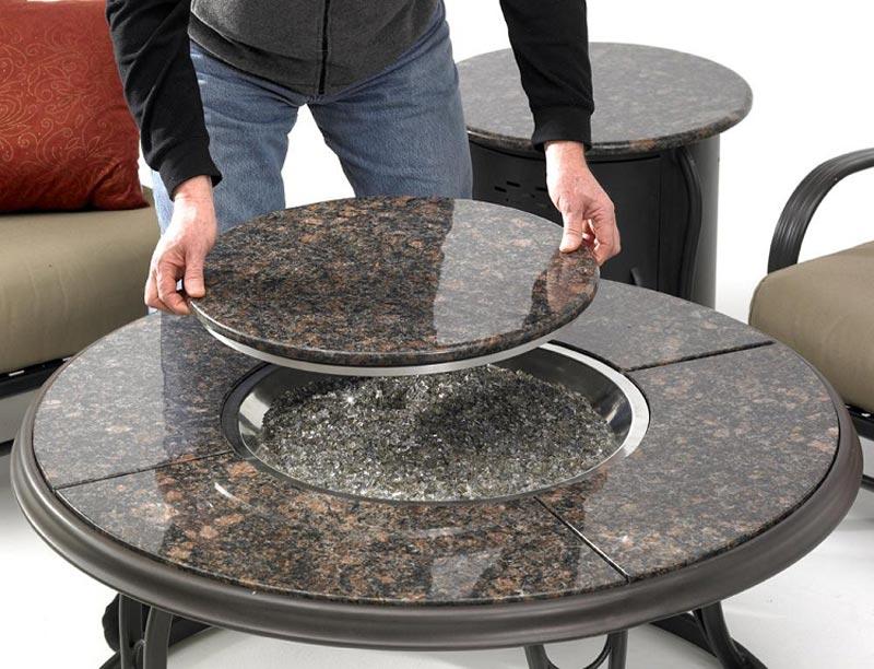 Granite fire pit cap