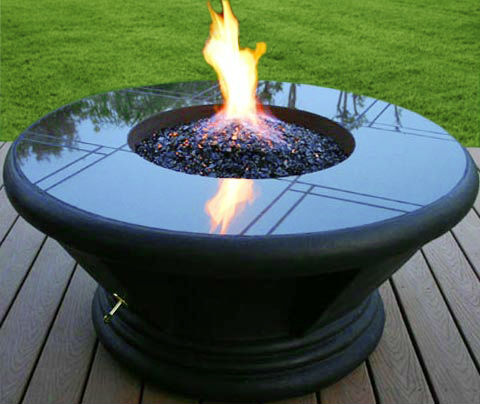 Outdoor fire bowl glass