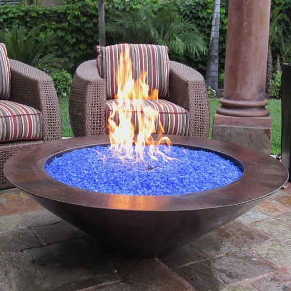 Outdoor fire bowls natural gas