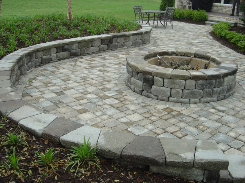 Paver Patio With Fire Pit | Home Exterior Design Ideas