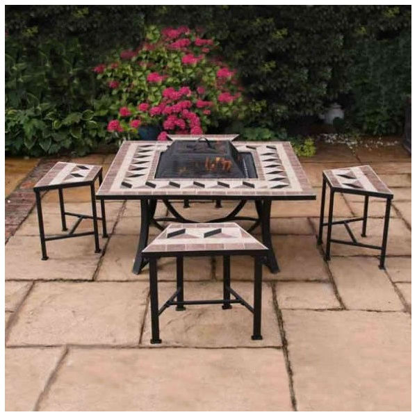Square outdoor fire bowl and grill