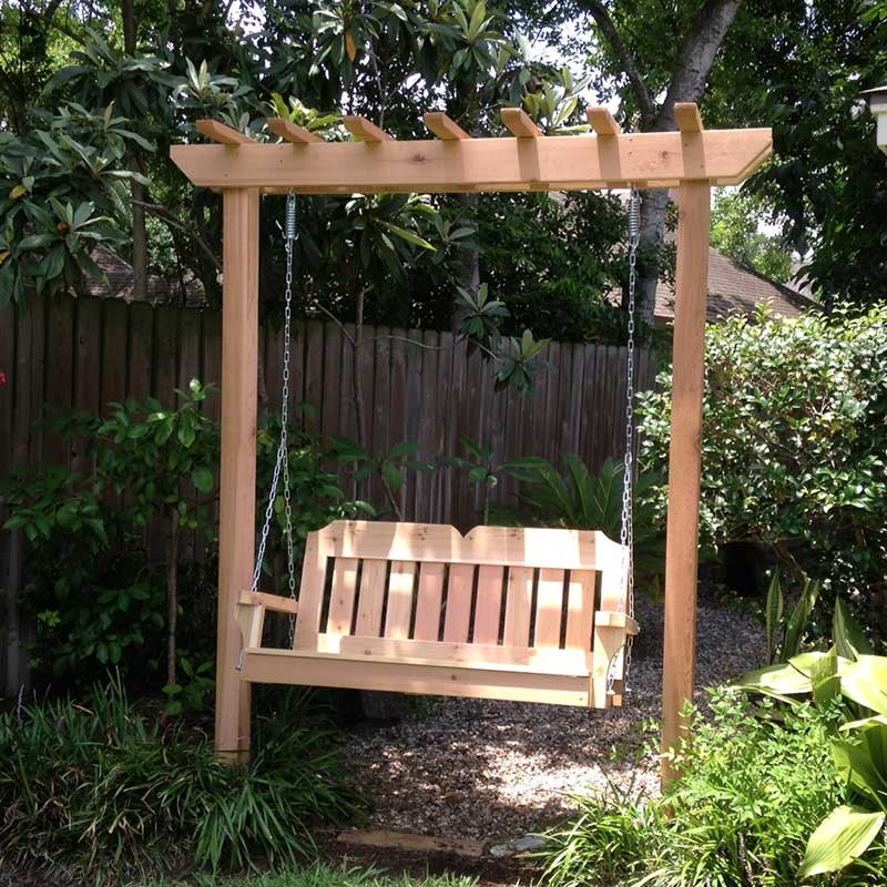 TMP Outdoor Furniture Victorian Red Cedar Post Style Arbor Swing Set