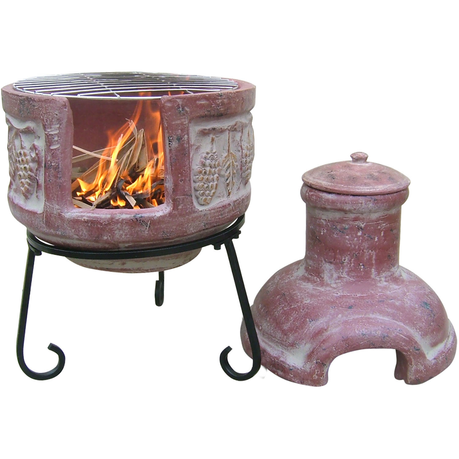Cheap chiminea fire pit clay garden landscape for Mexican chiminea