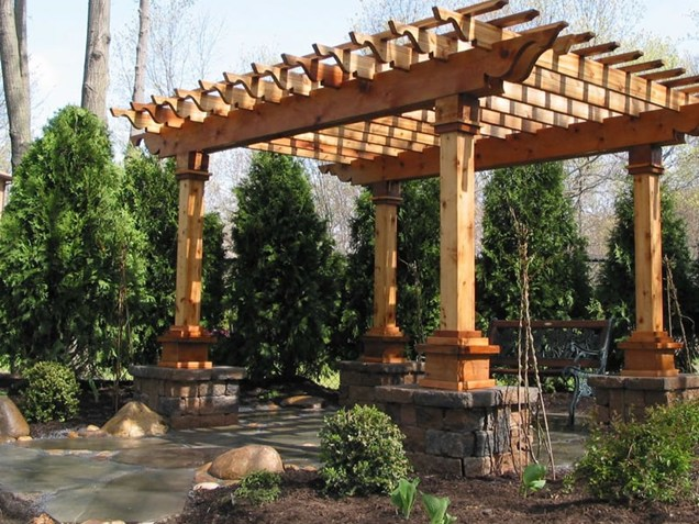 insider free standing pergola on concrete patio garden landscape. Black Bedroom Furniture Sets. Home Design Ideas