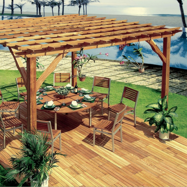 garden treasures pergola modern holz garden landscape. Black Bedroom Furniture Sets. Home Design Ideas
