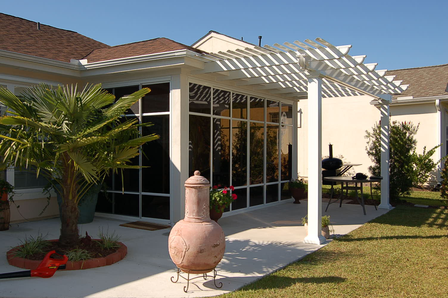 Astounding images pergola attached to house garden landscape for Sunroom attached to house