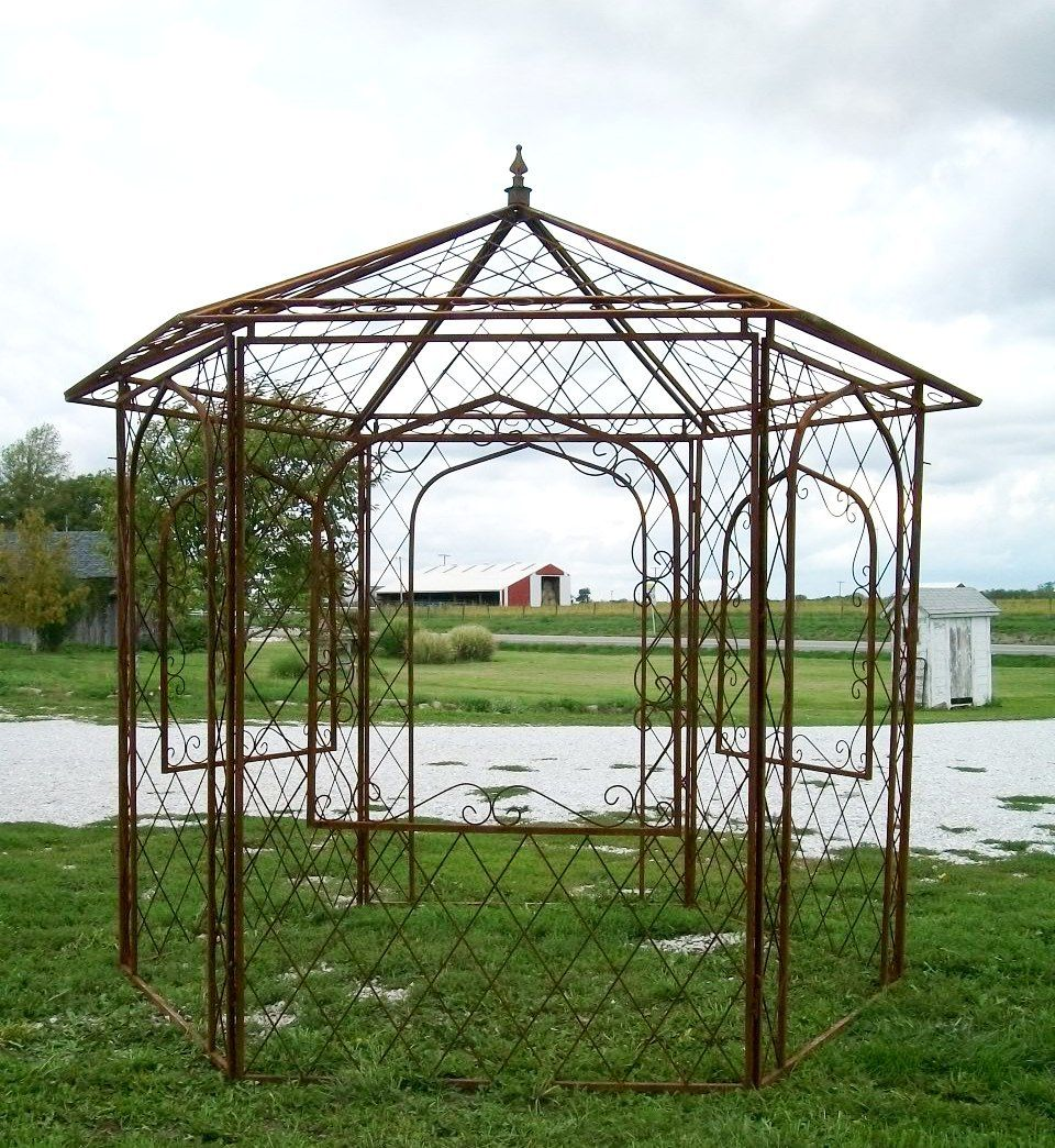 astounding wrought iron gazebo arbor garden landscape. Black Bedroom Furniture Sets. Home Design Ideas