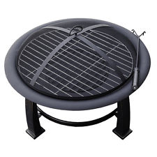 Fire Pit with Cooking Grate For Grilling Hiland Black Wood/Steel Burning