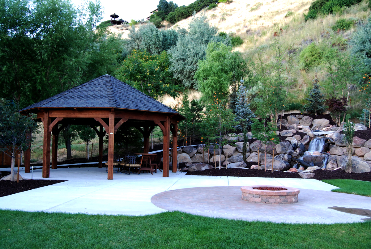Fabulous how to build a gazebo with a fire pit garden for Built in gazebo