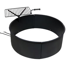 NEW Backyard Fire Pit Ring for Campfires with Swiveling Cooking Grate, Black