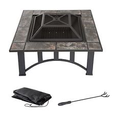 Pure Garden 33 Inch Square Tile Fire Pit with Cover Poker and Grate