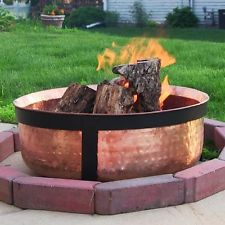 Sunnydaze Décor Hammered Copper Fire Pit w/Cover Outdoor Indoor Patio Campfire