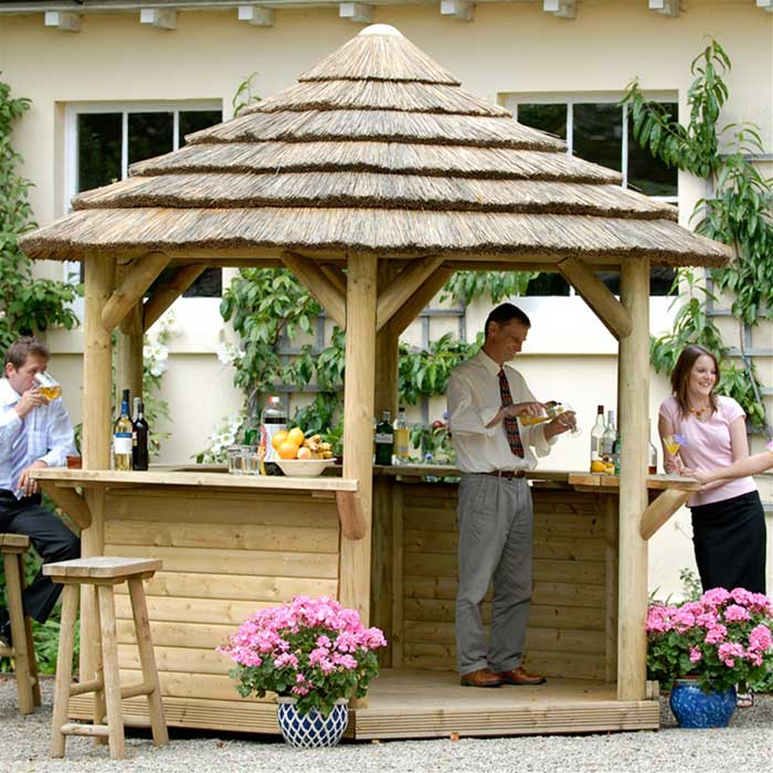 Thatched gazebo bar