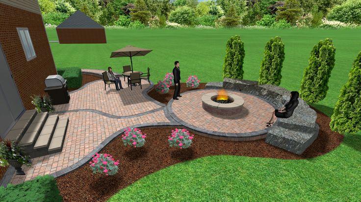 Brick Paver Patio And Fire Pit | 3D Landscape Designs | Pinterest