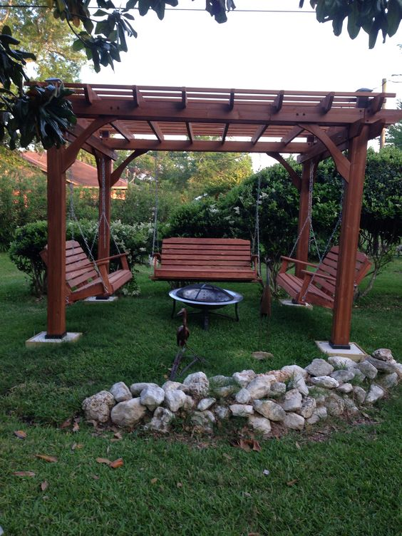 Fabulous Pergola With Swing And Fire Pit Garden Landscape