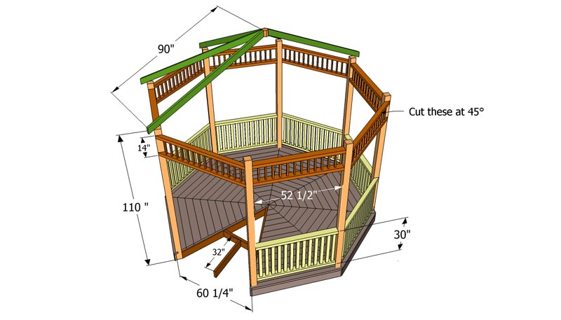 Benefits how to build a hexagon gazebo roof garden landscape for Hexagonal roof framing