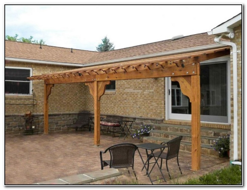 Amazing wood pergola attached to house garden landscape for Patio home plans