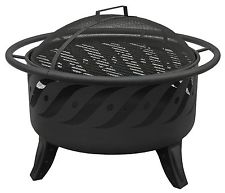 Patio Fire pit Black with cooking grate and spark screen Safety ring