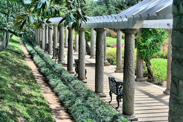 pergola, benches, walkway