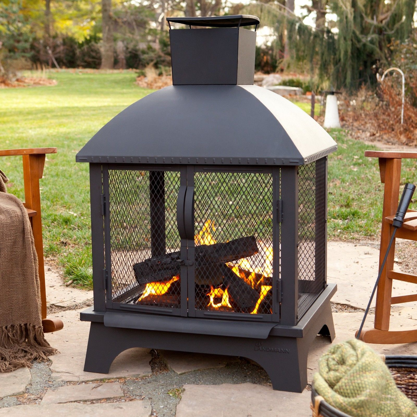 Benefits Wood Burning Chiminea Fire Pit Garden Landscape