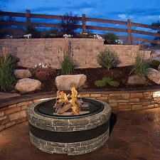 Faux Stone Fire Pit Wood Burning Stacked Sun Joe Cast