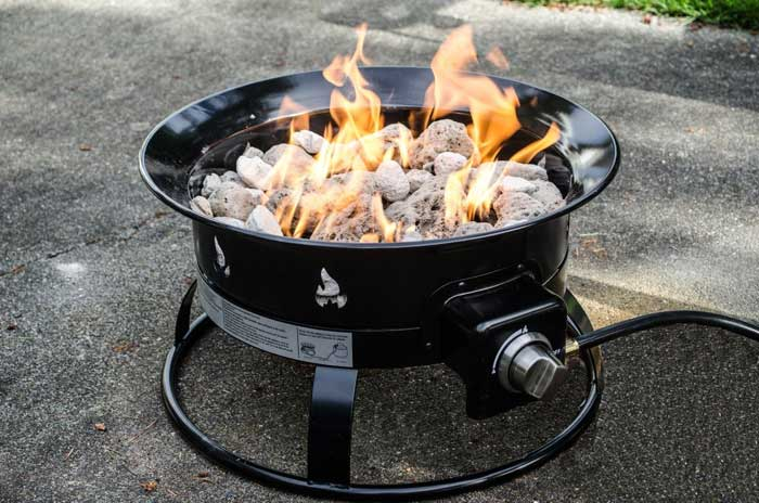 Gas outdoor fire pit inserts