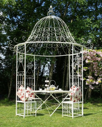 black wrought iron gazebo