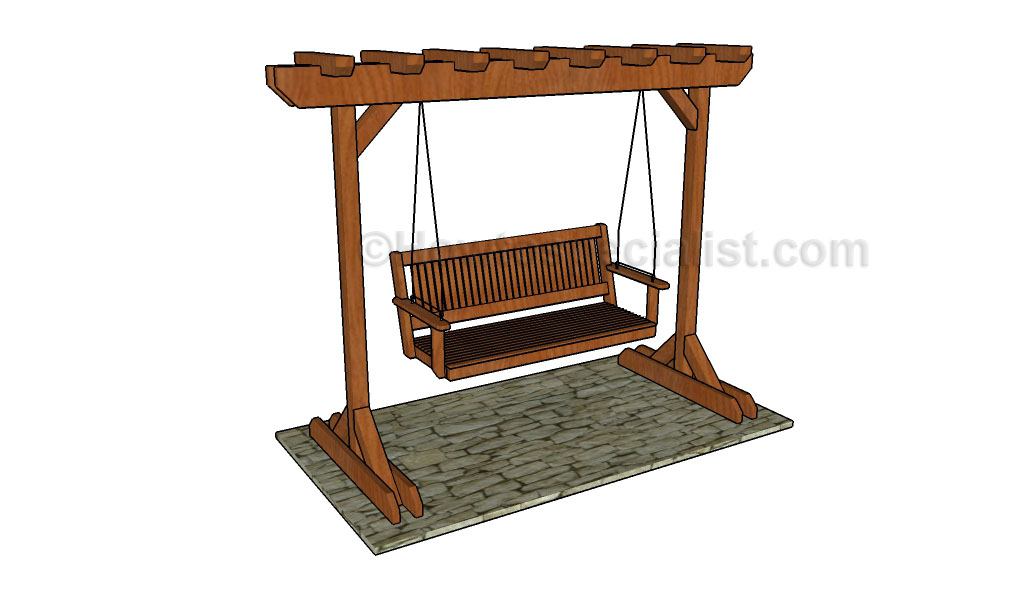 Extraordinary pergola swing stand plans garden landscape for Building a swing stand