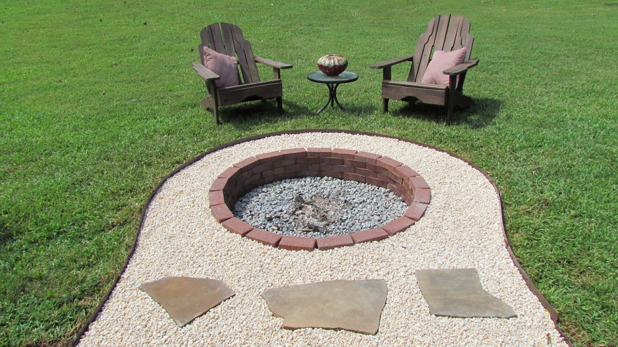 lovely in ground backyard fire pit garden landscape