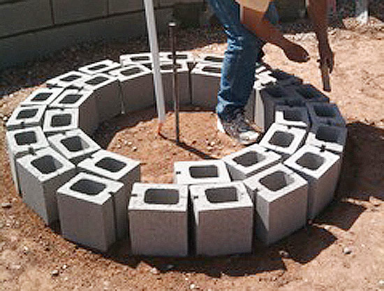Review in ground gas fire pit construction garden landscape for How to build a fire pit with concrete blocks