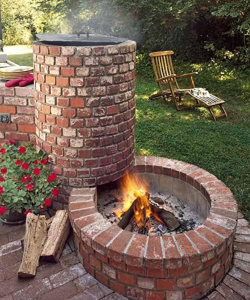 Brick Fire Pit Grill