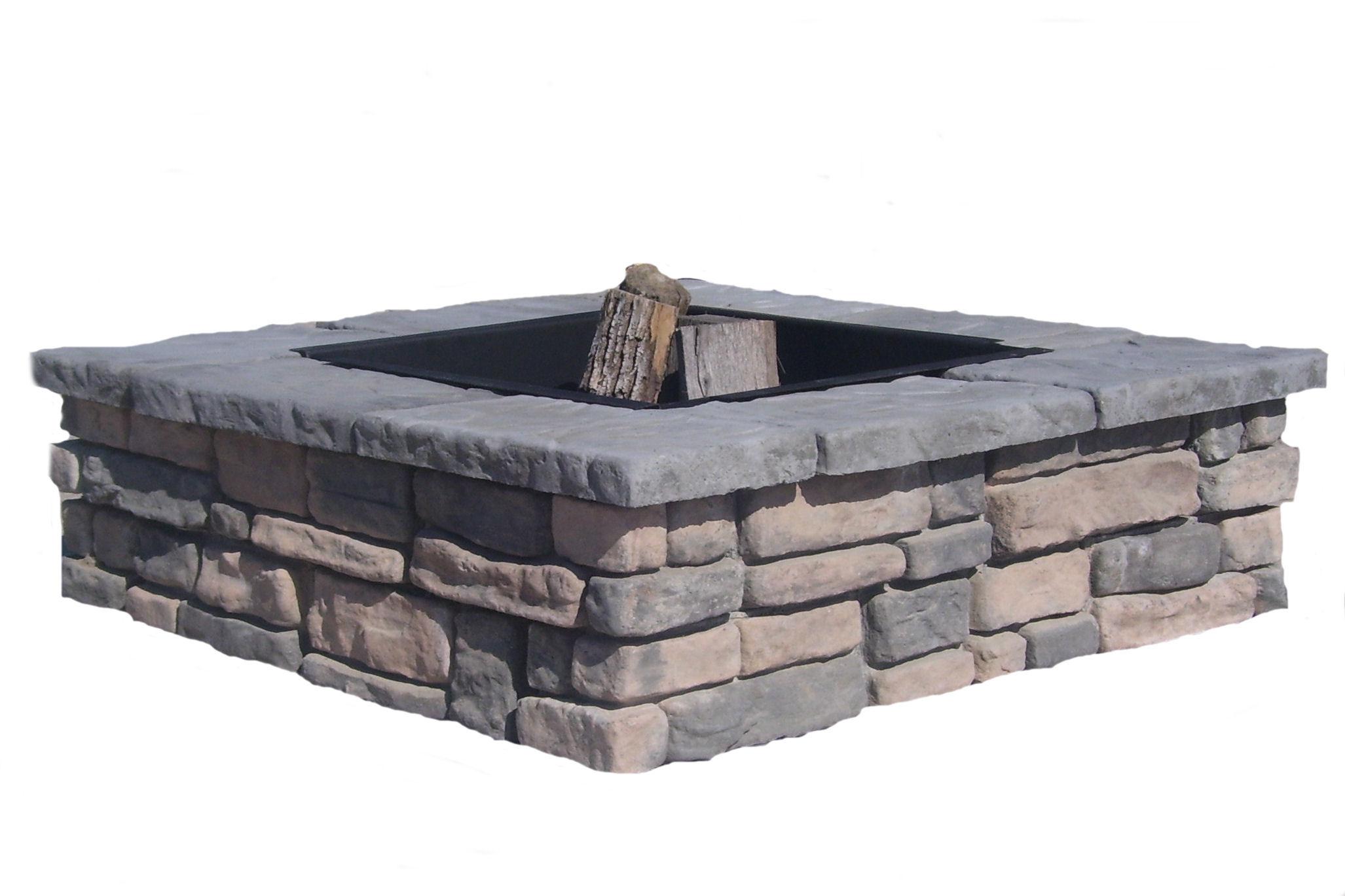 Buy concrete fire pit kit garden landscape for Square fire ring