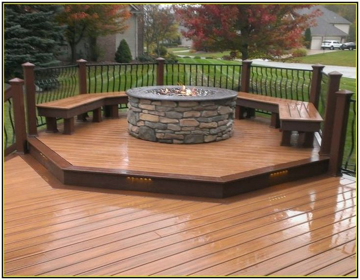 Amazing built in fire pit on deck garden landscape for Built in fire pits designs