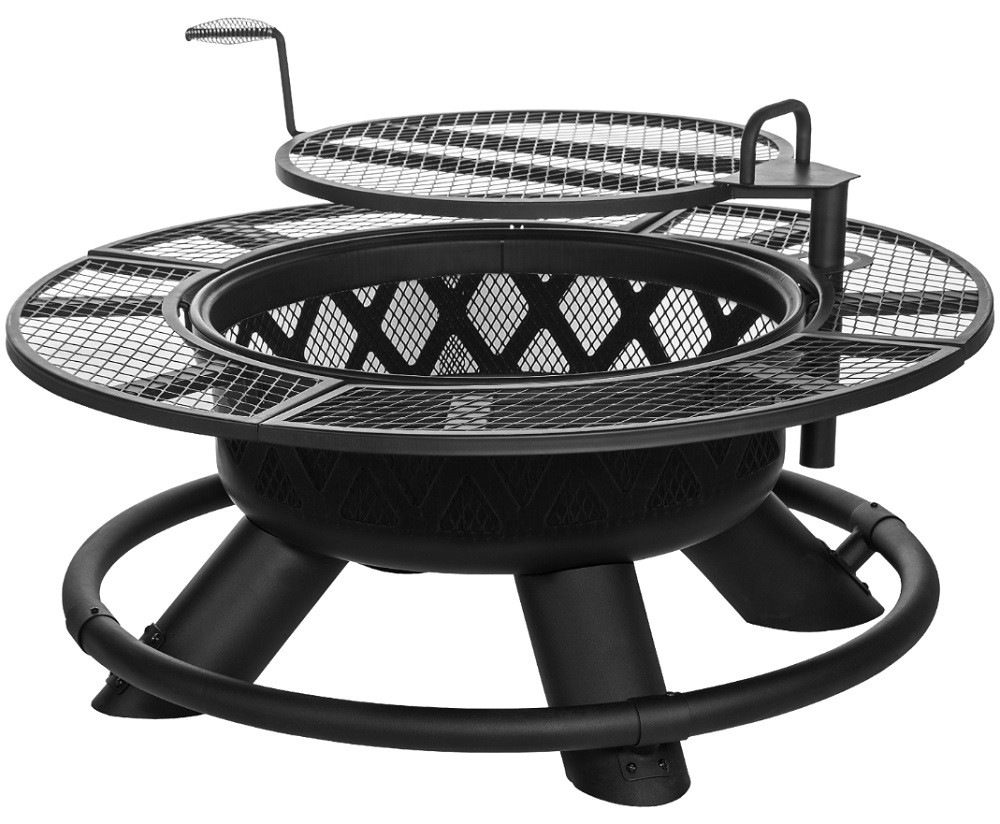 king ranch fire pit with grilling grate srfp96 by big horn outdoors