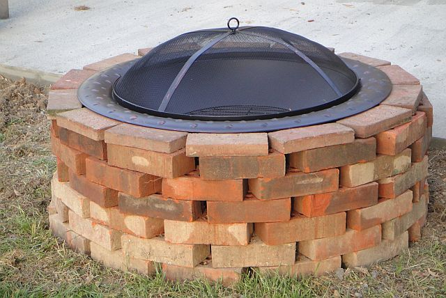 review brick lined fire pit garden landscape