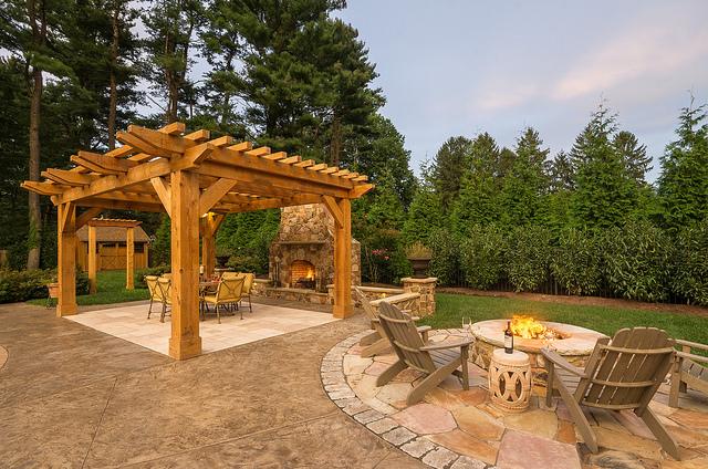 hardscaping landscaping disabatino patio concrete travertine pergola firepit seatwall fireplace