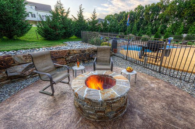 hardscaping landscaping disabatino patio concrete firepit boulderwall stone