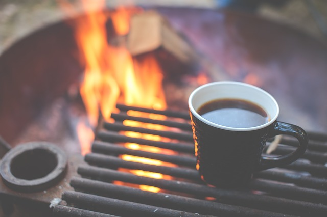 coffee, grill, fire
