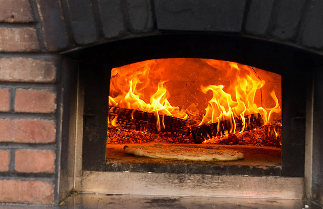 wood red food orange hot brick cooking fire wooden italian fireplace warm oven pit pizza burning flame