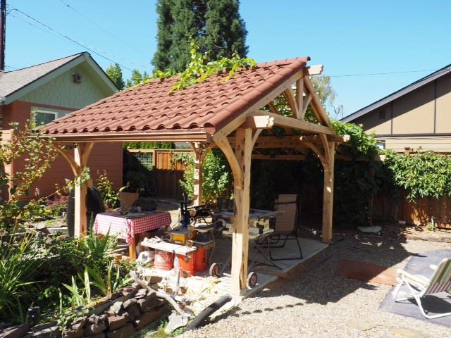 westernredcedar juniper project backyard homeimprovement diy arbor pergola gazebo fauxclaytile metalroofing capriclay decraroofing
