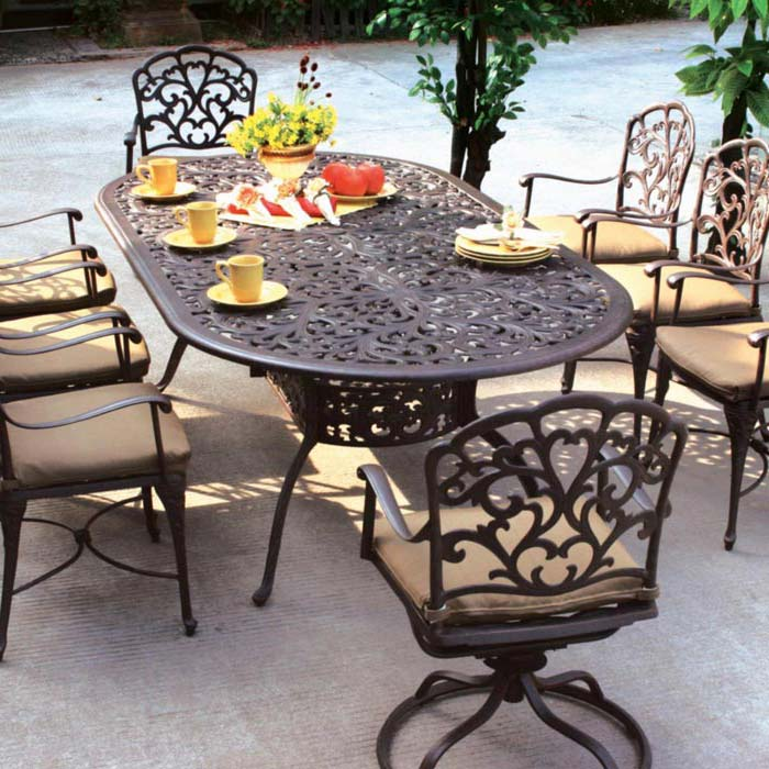 Outdoor Cast Aluminum Patio Furniture 7 Piece Dining Set