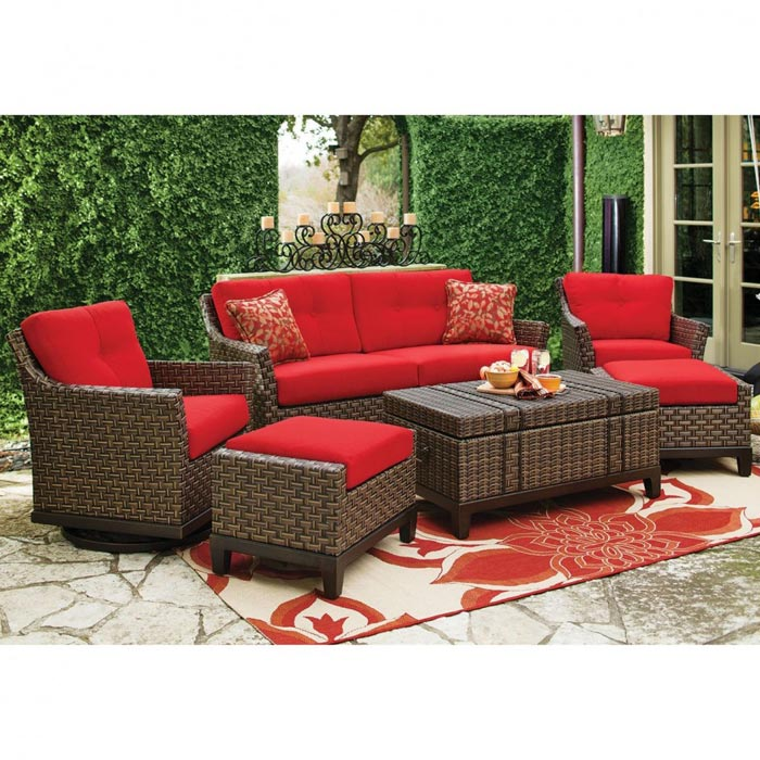 Wicker Patio Furniture With Red Cushions